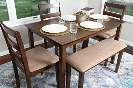 4 Person   5 Piece Kitchen Dining Table Set   1 Table, 3 Microfiber Chairs