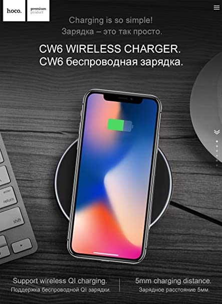 Hoco Wireless Charger Ultra Thin Qi Charging Pad For Amazonin