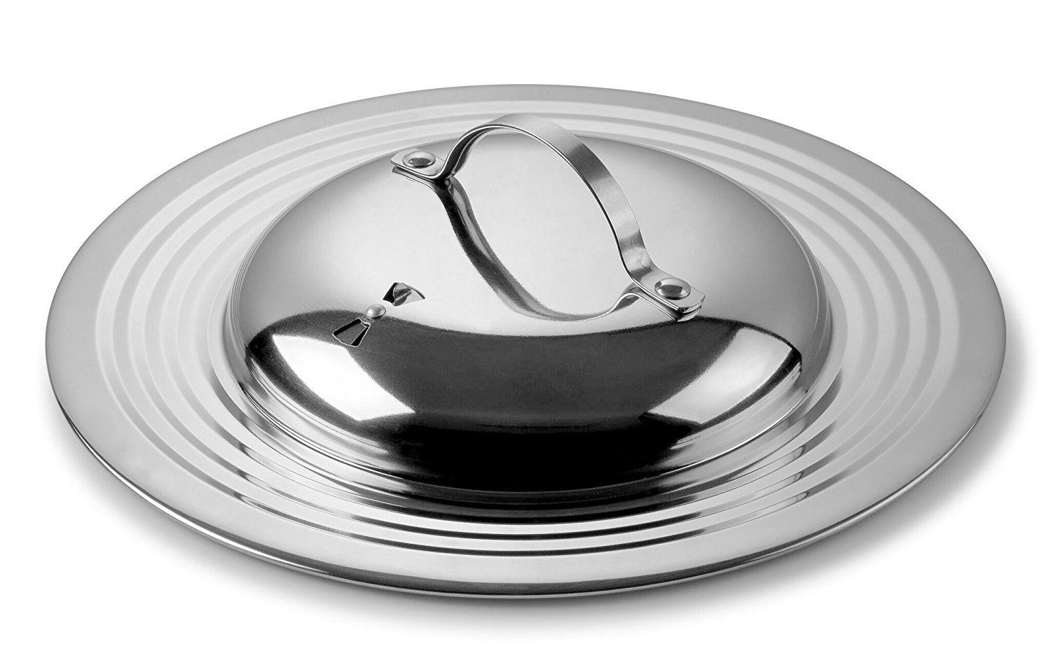 Modern Innovations Elegant 18/8 Stainless Steel Universal Lid with Adjustable Steam Vent, Fits All 7'' to 12'' Pots and Pans, Replacement Frying Pan Cover and Cookware Lids