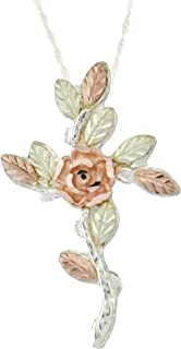 product image for Black Hills Silver Cross with Rose Flower and 12k Gold Leaves