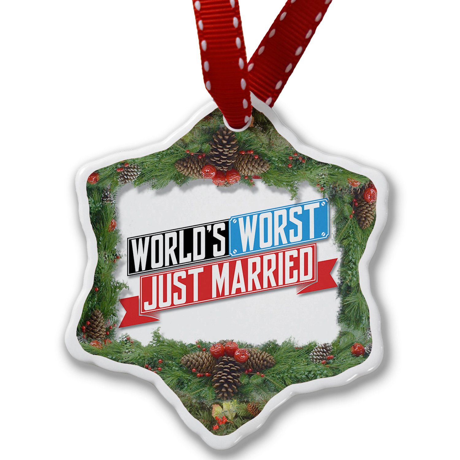 Amazon.com: Christmas Ornament Funny Worlds worst Just Married ...