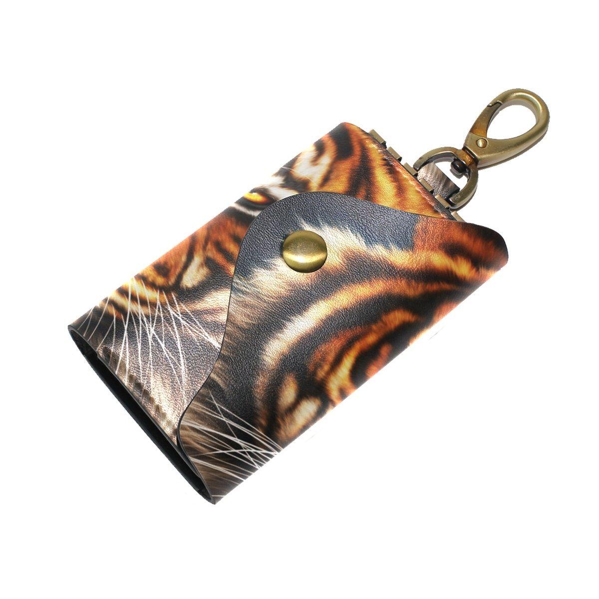DEYYA Popular Tiger Face Leather Key Case Wallets Unisex Keychain Key Holder with 6 Hooks Snap Closure