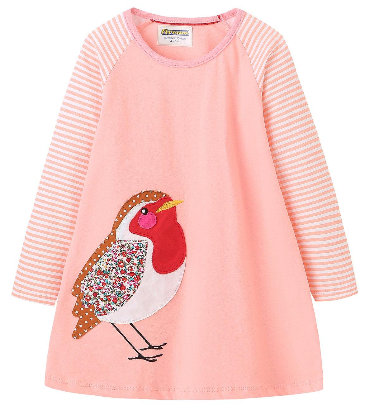 Fiream Girls Applique Cotton Casual Longsleeve Cartoon Dresses(7631TZ,9-10 Years)