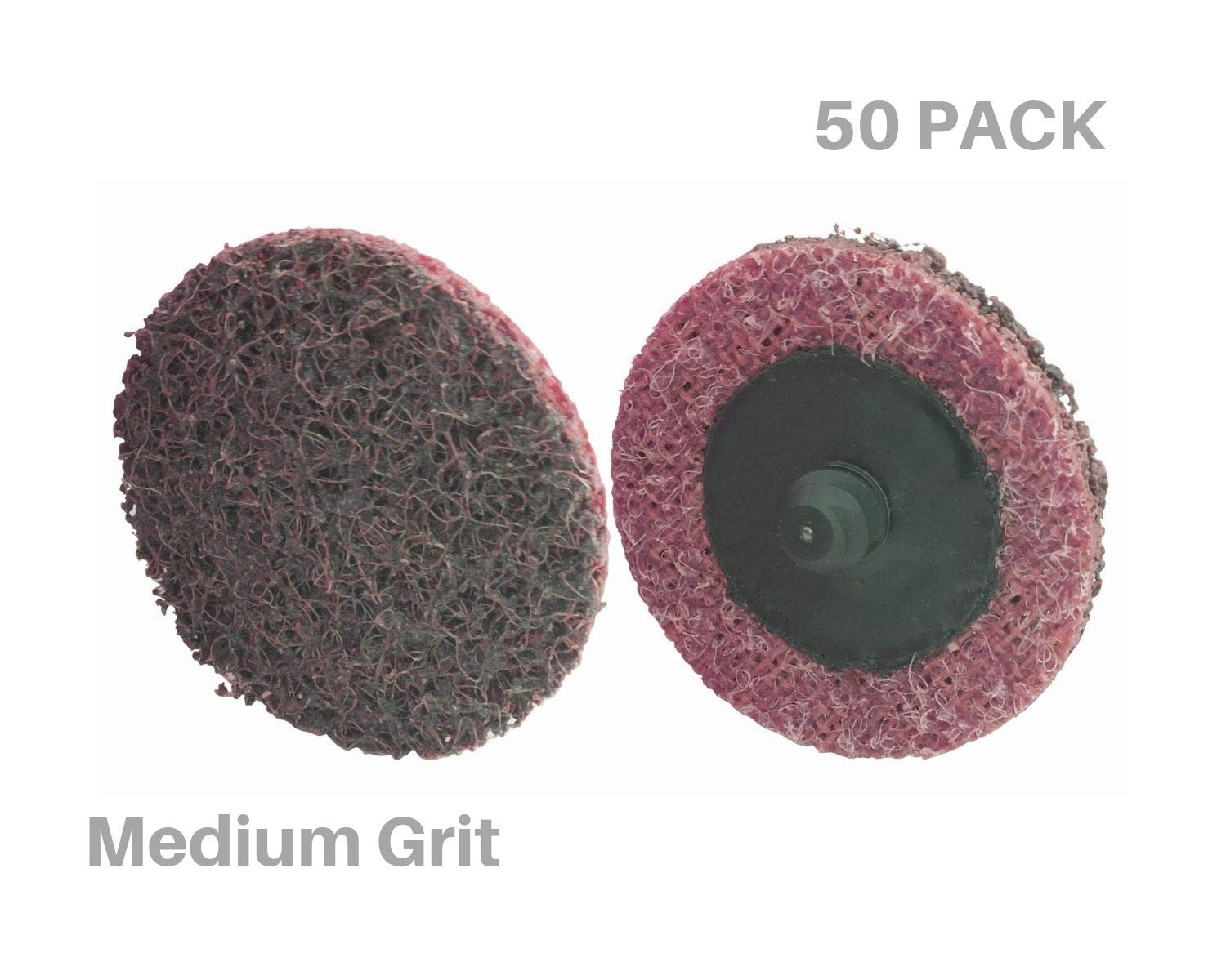 "Pro Select Abrasives 50 PC Extra Thick 2"" Medium Roloc Surface Conditioning Disc, Lasts 3X Longer Than 3M and Other Name Brands, Amazing Surface Finishing"