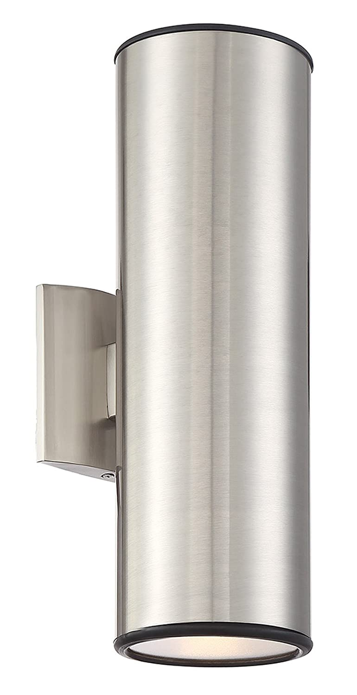 "Kira Home Enzo 15"" 2-Light Modern Weatherproof Metal Outdoor Light/Wall Sconce, Brushed Nickel Finish"