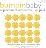 Adhesive replacements for bumpinbaby pregnancy speaker – 20 count, petal shaped, yellow-gold self-adhesive.