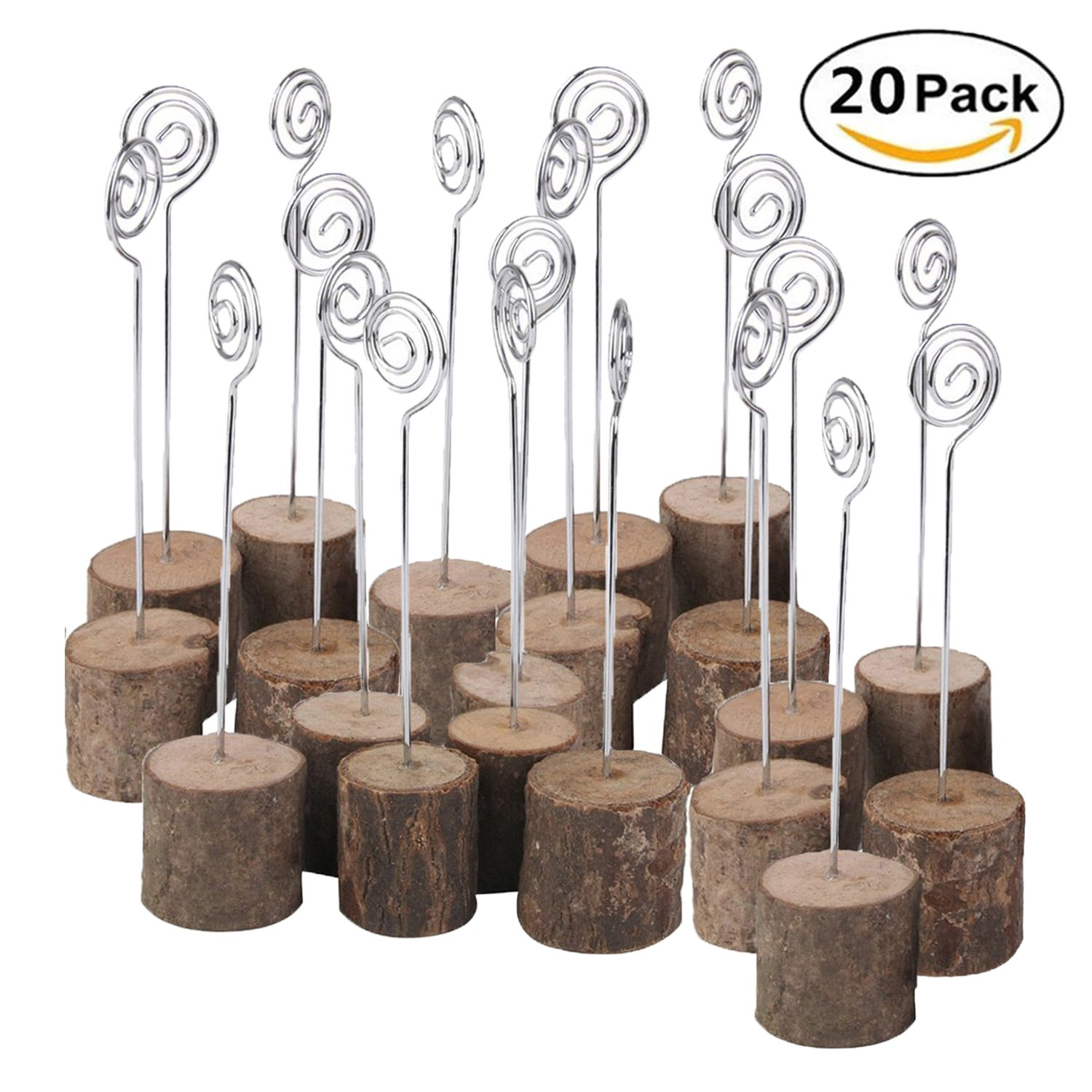 Rustic Real Wood Base Wedding Table Name Number Holder Party Decoration Card Holders Picture Memo Note Photo Clip Holder (20 PCS)