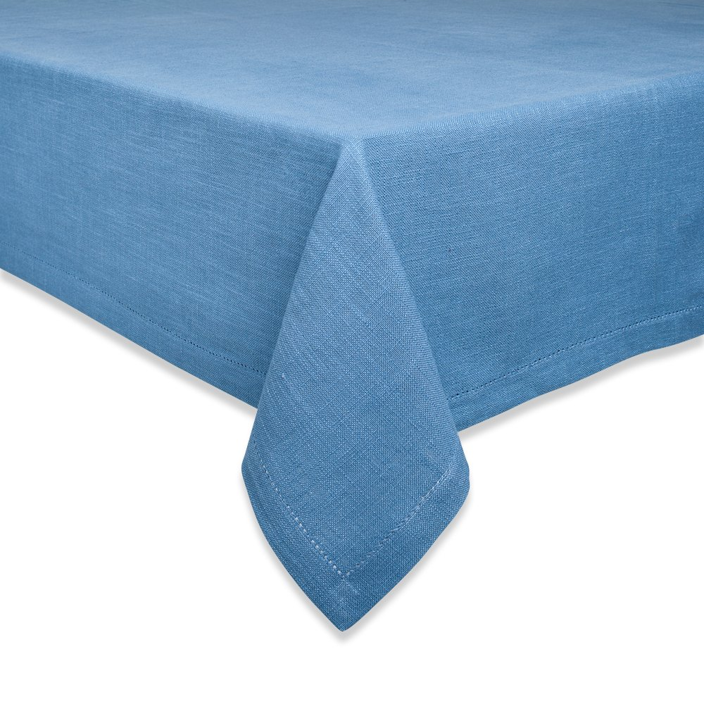 Couleur Nature Hemstitch Sea Blue Tablecloth, 90-inches, Round