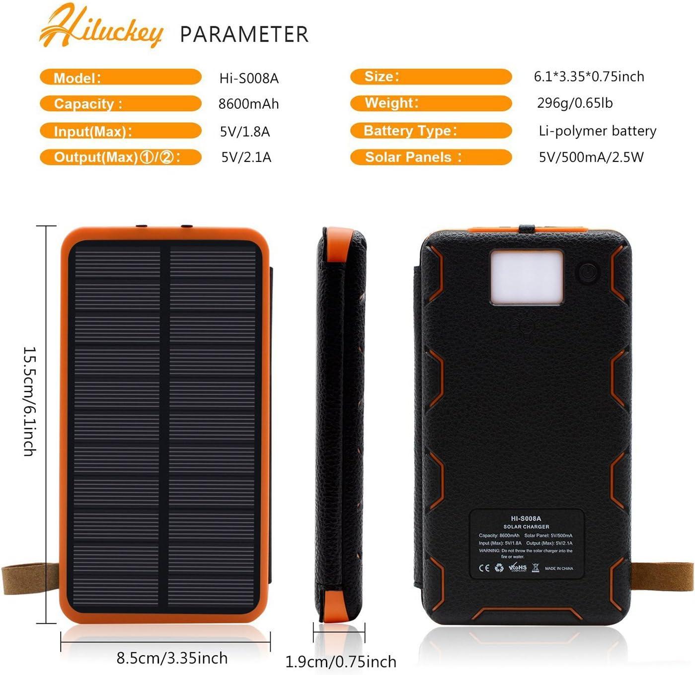 Hiluckey Caricabatterie Portatile 8600mAh Dual USB Batteria