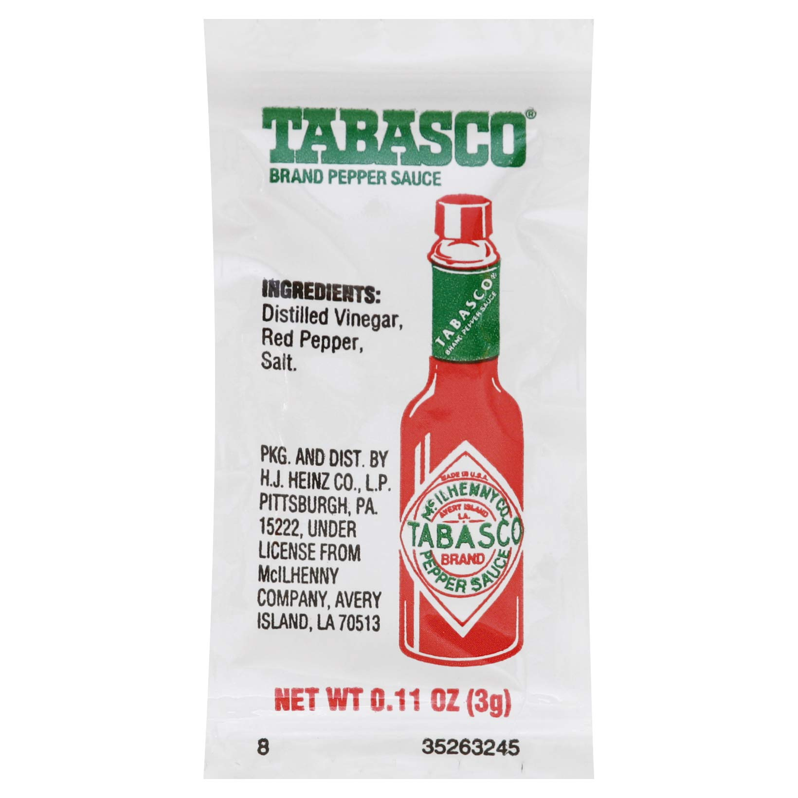 TABASCO Pepper Sauce Single Serve Packet (0.1 oz Packets, Pack of 200)