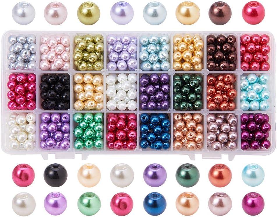 PandaHall Elite 720 Pcs Cuentas Redondas de Cristal, de Estilo Perla, 24 Colores, 8 mm de Diámetro, Agujero: 0.7 ~ 1.1 mm; sobre 30pcs / Comparmento