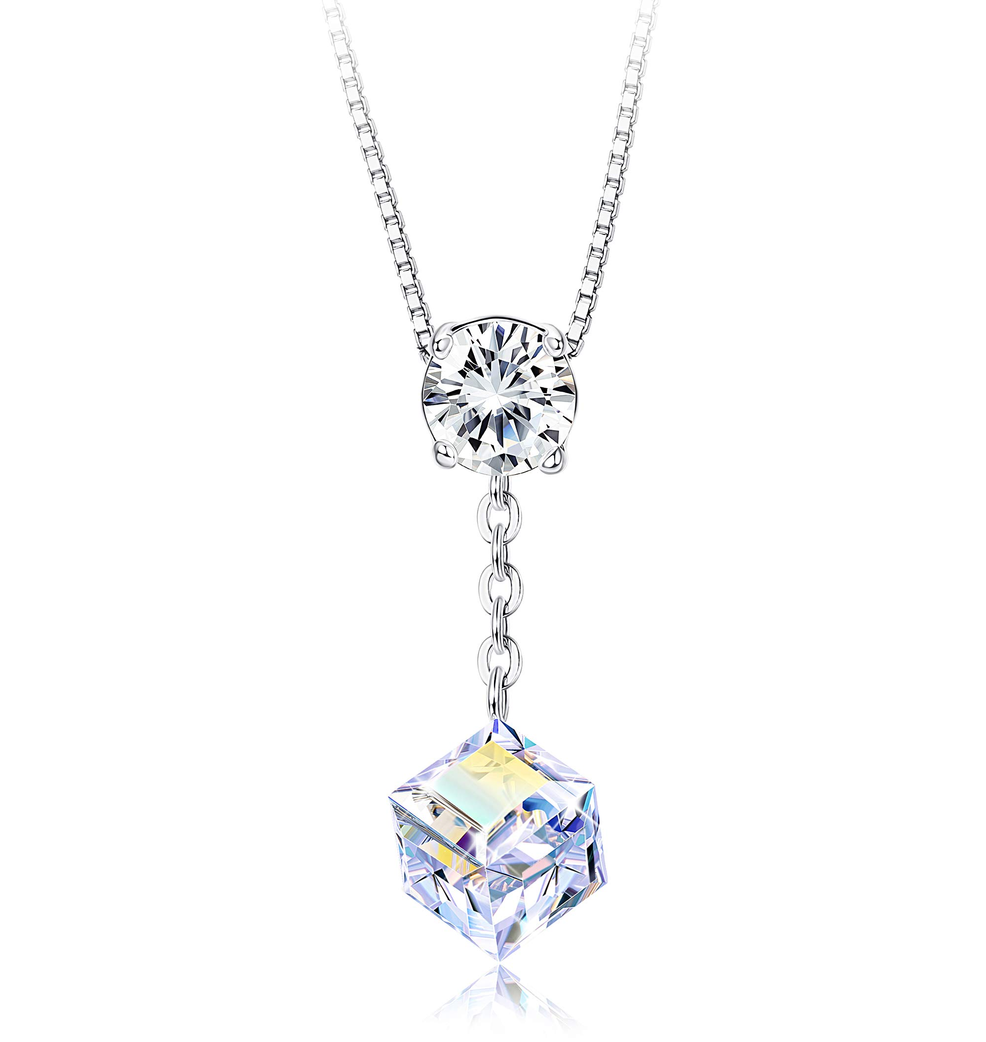 Sllaiss Square Aurora Crystal Y Necklace for Women Round-Cut Clear Crystal Pendant Chain Necklace Jewelry Gift for Her Crystals from Swarovski by Sllaiss
