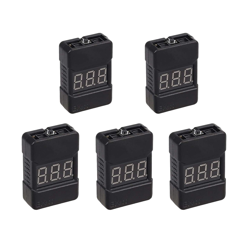 Camway 5 unidades 2 en 1 1-8s Lipo Li-ion Battery Voltage Tester Monitor RC alarma zumbador de bajo voltaje para Lipo//Li-ion//LiMn//Li-Fe