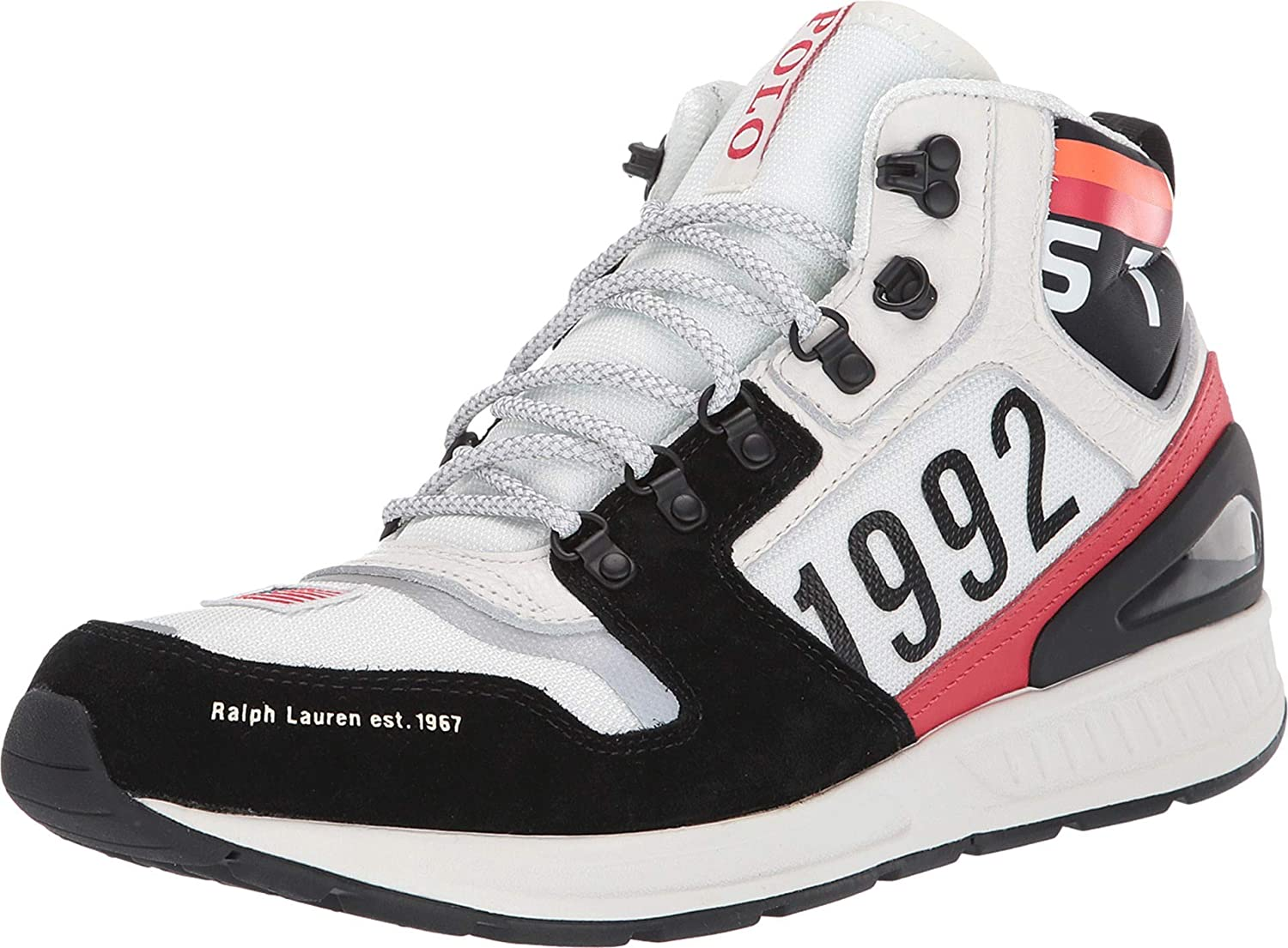 Polo Ralph Lauren Train 100 Mid, Negro (Negro/Blanco/Rojo), 46 EU ...