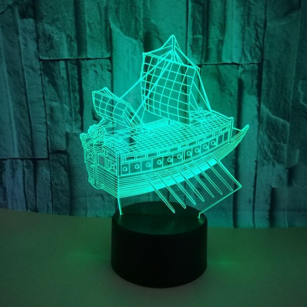Solo 1 pieza nuevo velero luces 3d toque colorido LedVision 3d luz de noche pequeña hogar regalo atmósfera pequeña lámpara Led para niños