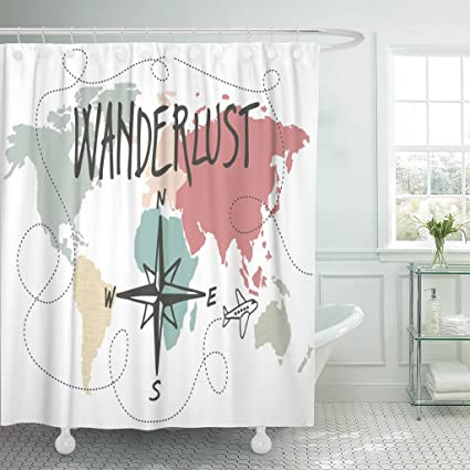 Image Unavailable Not Available For Color Emvency Shower Curtain World Wanderlust Vintage Map