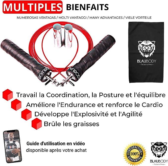 fitness avec poign/ées en mousse DPT Corde /à sauter pour adultes hommes et enfants corde /à sauter rapide avec roulement /à billes pour femmes