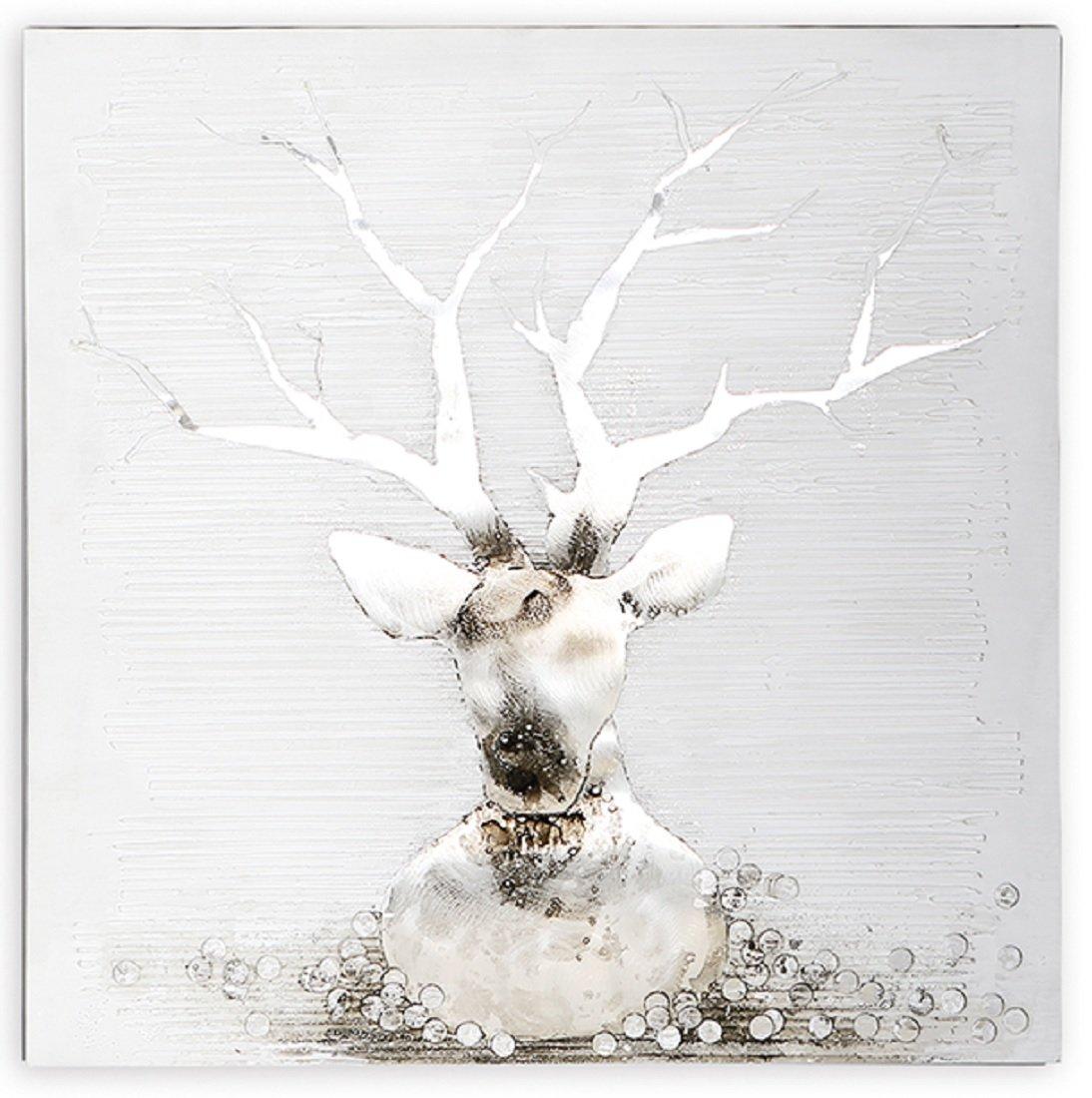 Casablanca Ölbild Deer grau silber weiss 80 x 80 cm Leinen Holz Metall,m.Alu Applikationen