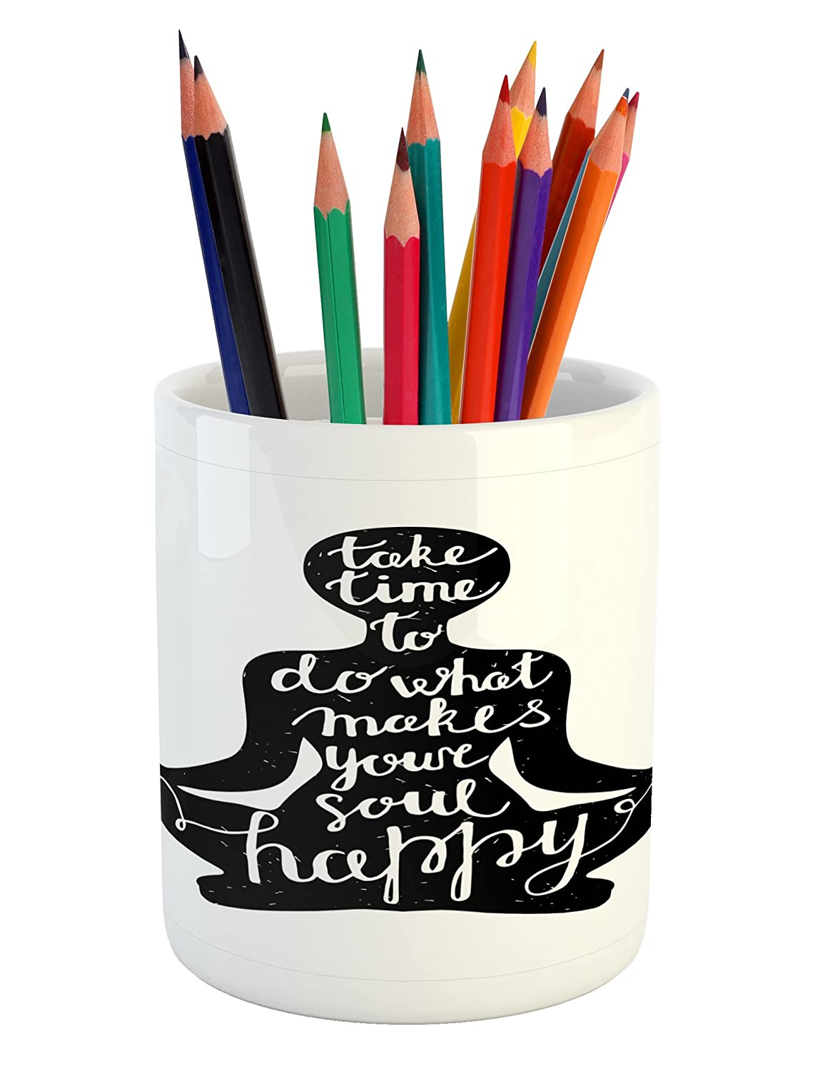 Amazon.com: Lunarable Quote Pencil Pen Holder, Take Time to ...