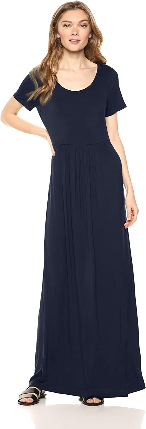 Amazon Brand - Daily Ritual Women's Jersey Short-Sleeve Scoop-Neck Empire-Waist Maxi Dress