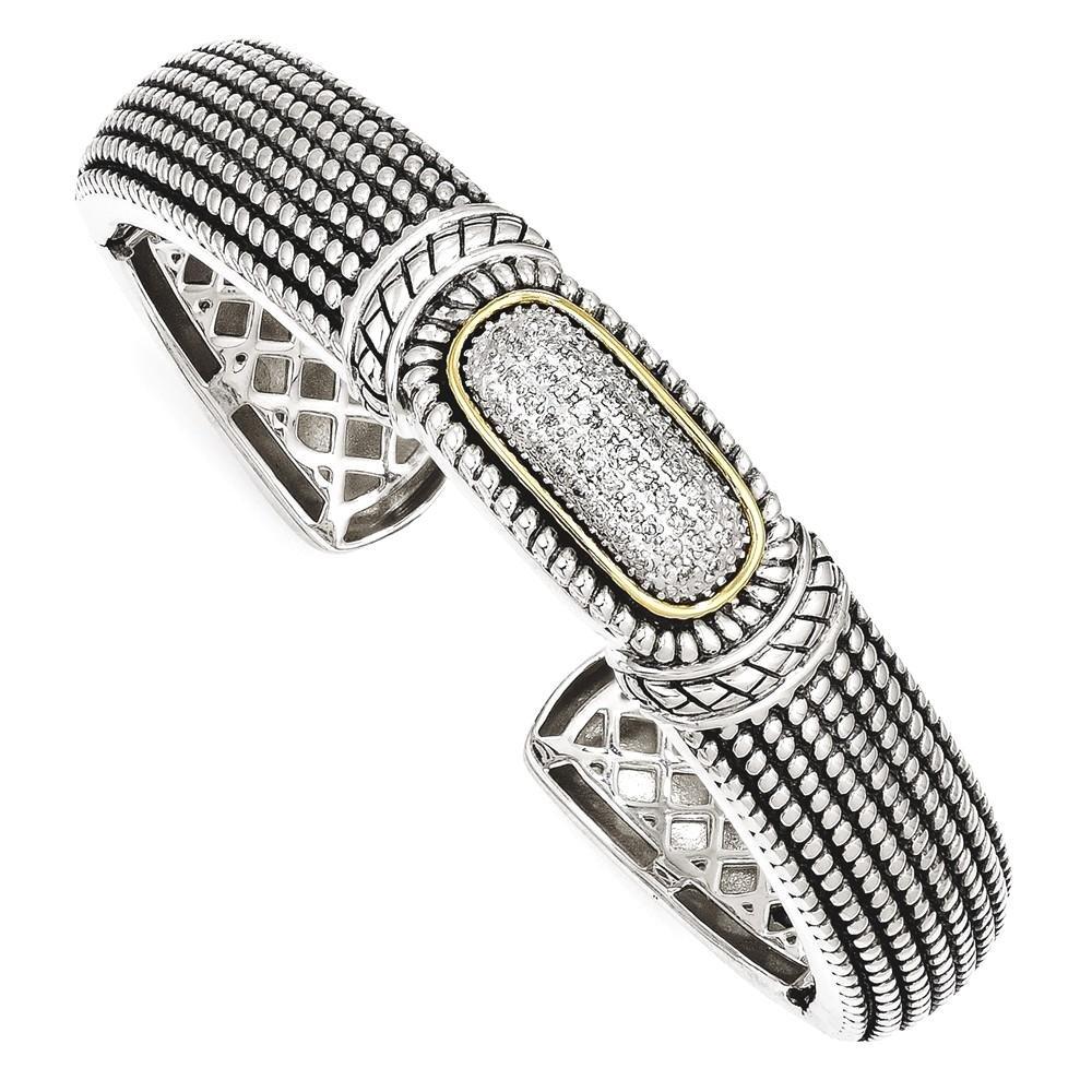 IceCarats 925 Sterling Silver 14k 1/4ct. Diamond Cuff Bracelet Bangle