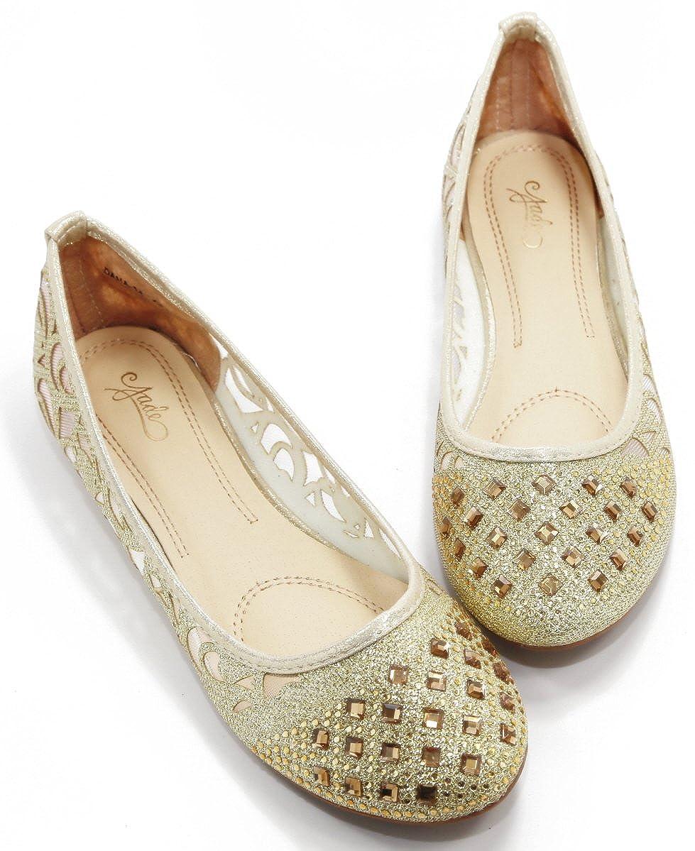 Walstar Women Casual Rhinestone Glitter Mesh Slip On Ballet Flat Lightweigh
