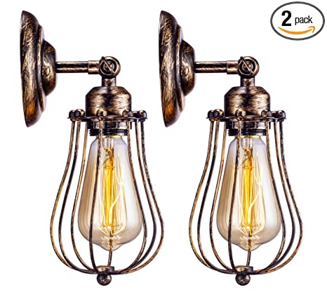 Amazon.com: Jaula de alambre de pared Sconce Licperron ...