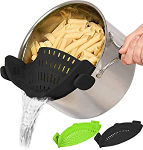 2 PACK Snap Strainer, Silicone Food Strainers Heat Resistant Clip On Strain Strainer Rice Colander Kitchen Gadgets Drainer Hands-Free For Pasta, Spaghetti, Ground Beef, Universal Fit All Pots Bowls