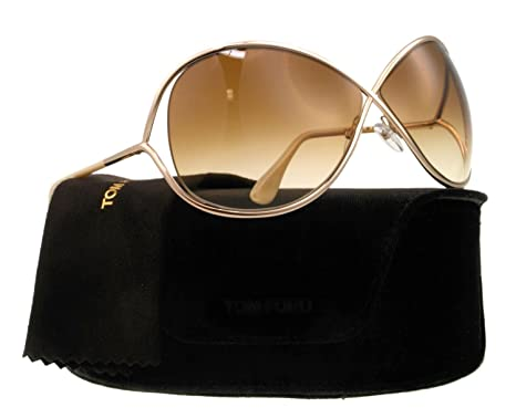 e33b9ed12e86f TOM FORD FT0130 Miranda Sunglasses Shiny Rose Gold Gradient Brown (28F)  TF130 28F  Amazon.co.uk  Clothing