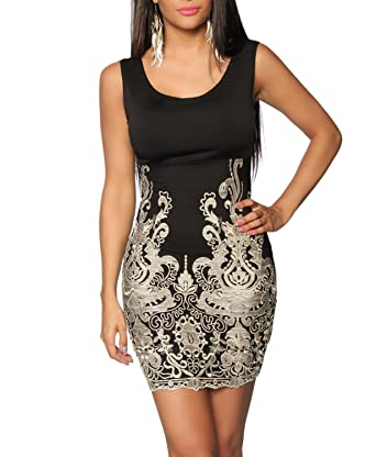 Agfashionde Vestido Para Mujer Negro Negro Dorado 44
