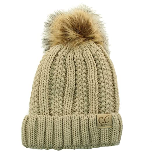 703ac1c7343 Kids CC Ages 2-7 Sherpa Lining PomPom Thick Stretchy Knit Beanie Cap Hat  Beige