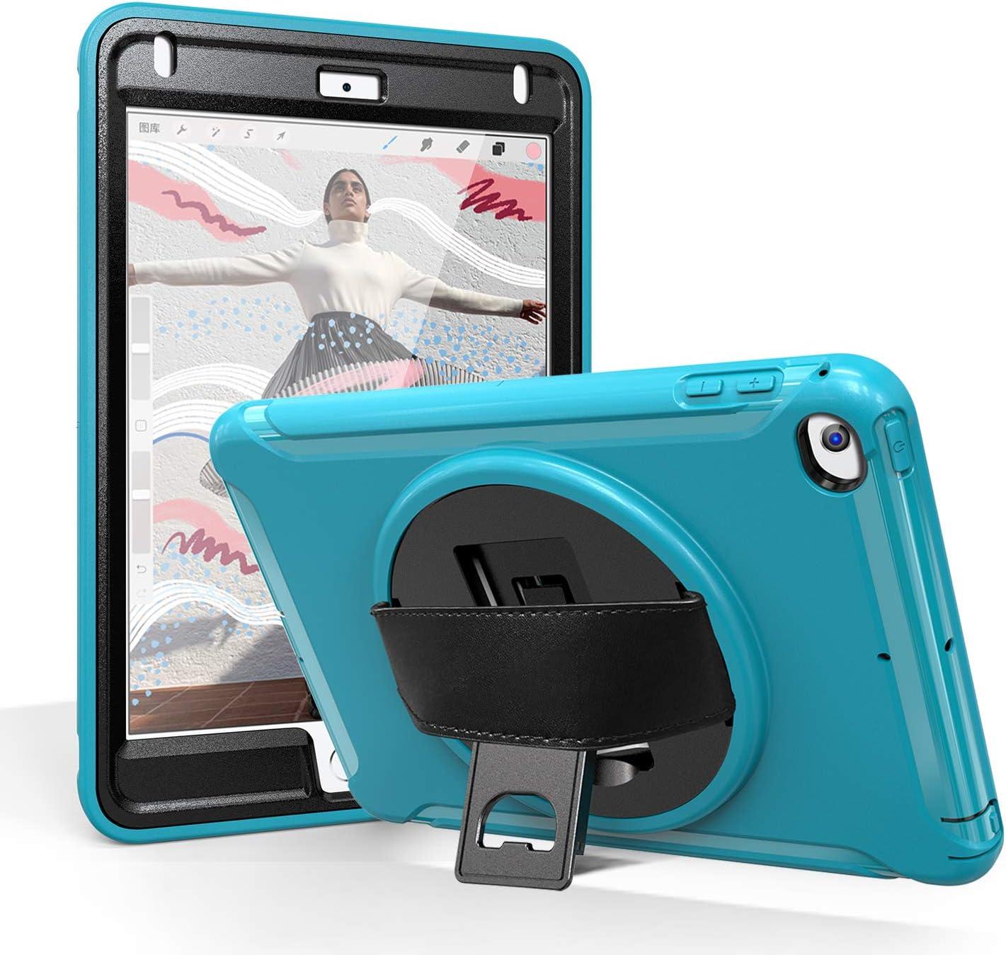 iPad Mini 4 Case/iPad Mini 5 Case for Kids, BATYUE [Full-Body] & [Shock Proof] with 360° Rotating Kickstand+Hand Strap Hybrid Armor Protective Case for iPad Mini 5th/ 4th Generation Case (Light Blue)