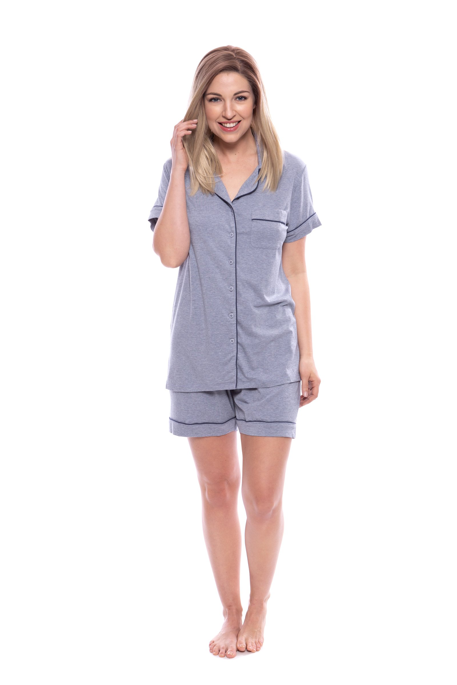Texere Women's Bamboo Shorts Pajama Set (Heather Atlantic, Medium) Great Gift for Mother Daughter-in-Law Grandma TX-WB000-008-21U2-R-M