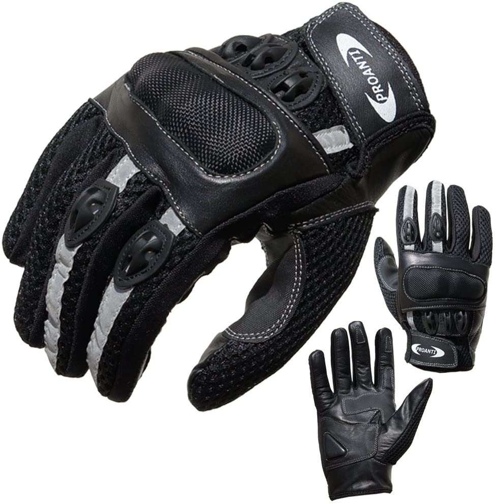 PROANTI Motorradhandschuhe Motorrad Handschuhe Sommer Gr. XS - XXL, schwarz, kurz