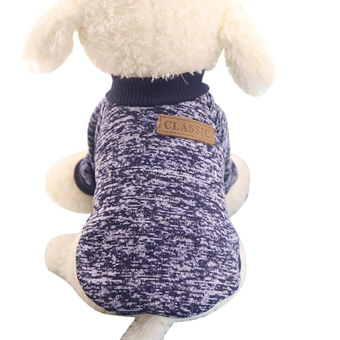 ღ Ninasill ღ Pet Dog Puppy Classic Sweater Fleece Sweater Clothes Warm Sweater Winter (M, Navy)