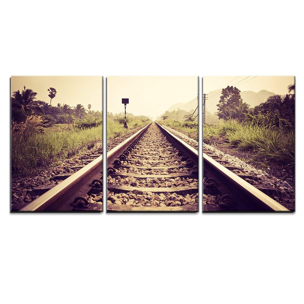 wall26 - 3 Piece Canvas Wall Art - vintage railroad - Modern Home Decor Stretched and Framed Ready to Hang - 16''x24''x3 Panels