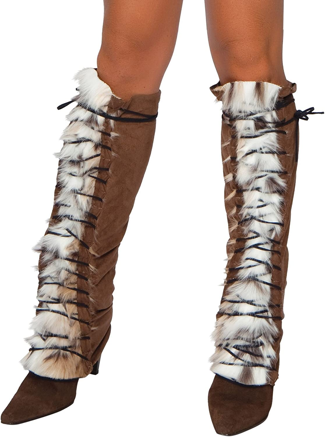 Roma Costume Faux Fur Suede Lace Up Leg Warmer, Brown/Faux Fur, One Size: Clothing