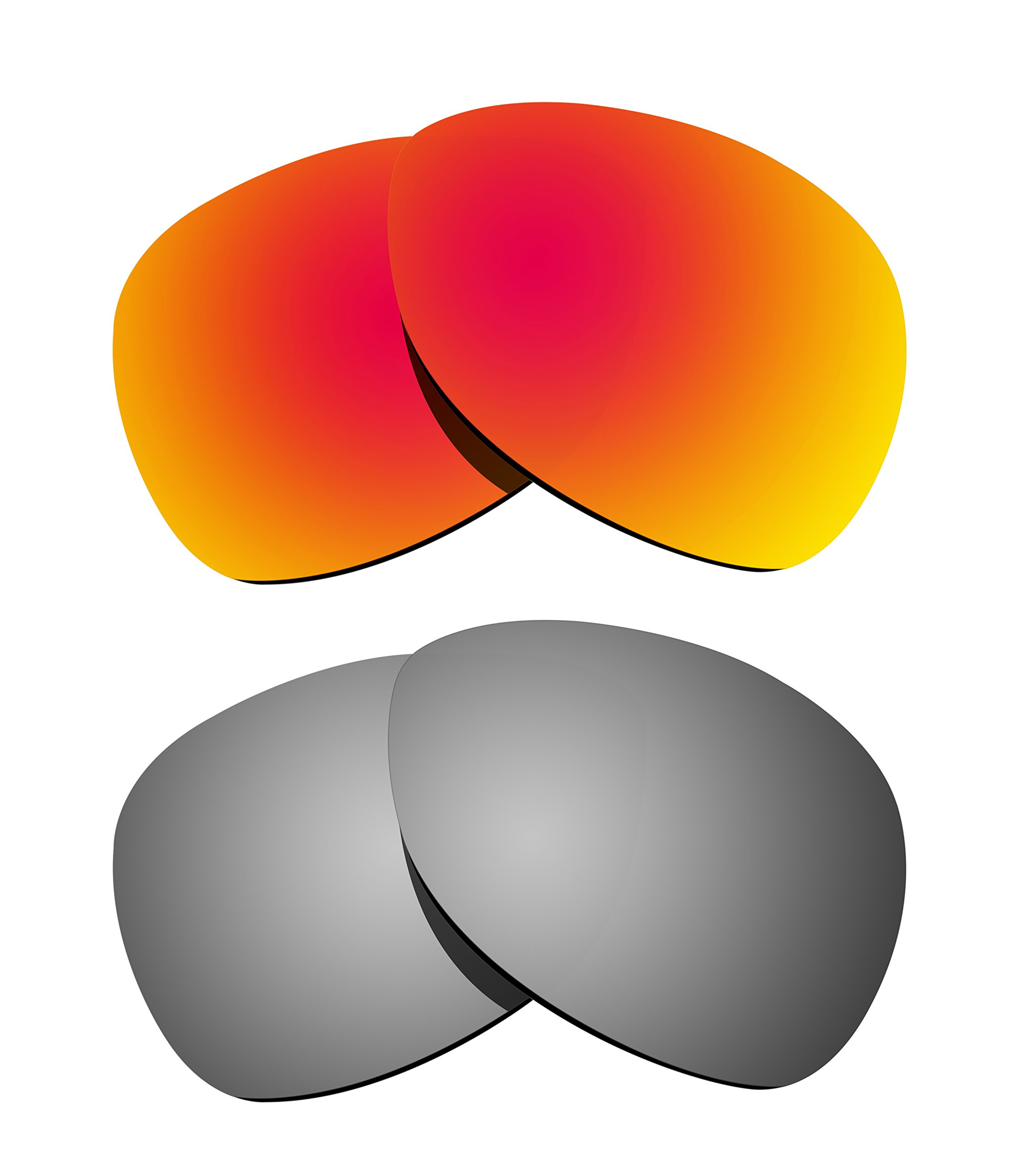 Littlebird4 2 Pairs 1.5mm Polarized Replacement Lenses for Oakley Crosshair Sunglasses - Multiple Options (Silver+Fire Red)