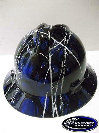 NEW Custom MSA V GARD Hydro Dipped Full Brim Hard Hat Blue Harvest Moon