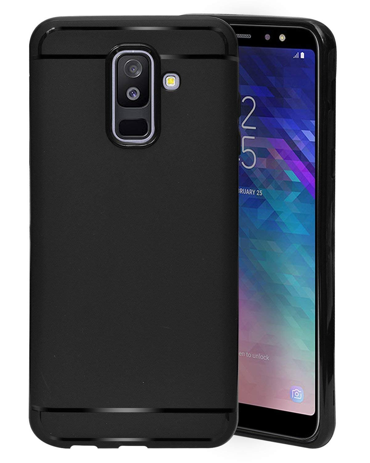 watch 1292d 90d01 ECellStreet® Silicon Soft Back Cover Protective Case for Samsung Galaxy J8  6.0 Inch (2018) (Black)