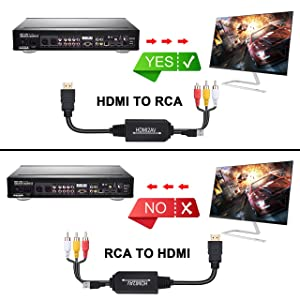HDMI to RCA Cable, HDMI to RCA Converter Adapter Cable, 1080P HDMI to AV 3RCA CVBs Composite Video Audio Supports for Amazon Fire Stick, Roku, Chromecast, PC, Laptop, Xbox, HDTV, DVD (Color: Black Cable)