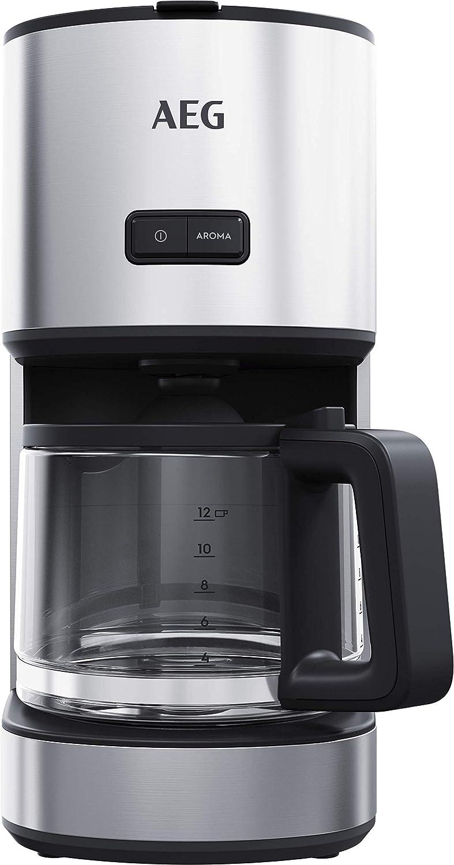 AEG CM4-1-4ST Cafetera de goteo Jarra de Cristal con Indicador de Nivel, Acero inoxidable, Apta Lavavajillas, Capacidad de 1.7L, 12 Tazas, Sistema Antigoteo, Filtro Extraible, Apagado Automático, Inox: Amazon.es: Hogar