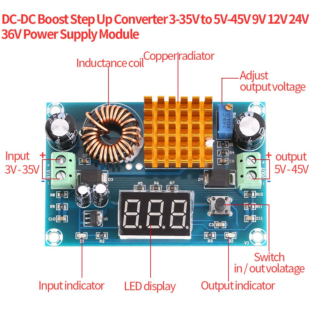 Akozon Boost Converter Module Xh M411 Dc Digital Home Power Supply Xl6009 12v Universal Charger For Laptop Notebook Step Up Board 3 35v To 5v 45v 5a Diy Large Audio Theater