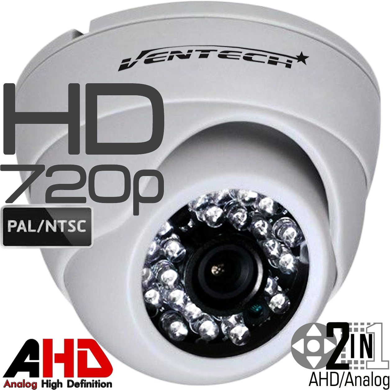 Ventech HD 1.0MP 720P AHD Dome Security Camera outdoor 3.6mm wide angle Lens 24 IR LEDs ICR Auto Day Night Video Surveillance Works with Analog and AHD DVRs CAMAHD Waterproof Metal Ball by VENTECH