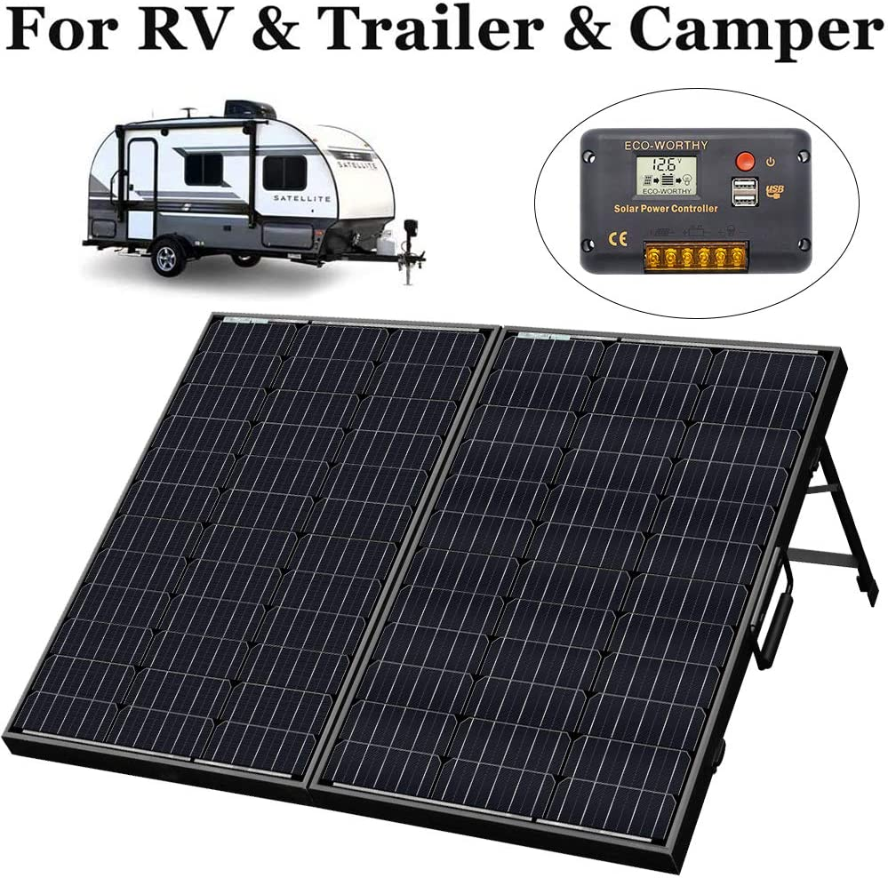 ECO-WORTHY 50 Watt Portable Folding Solar Panel Module W//Include 3A Solar Charge Controller Yacht RV for 12v Battery Charging