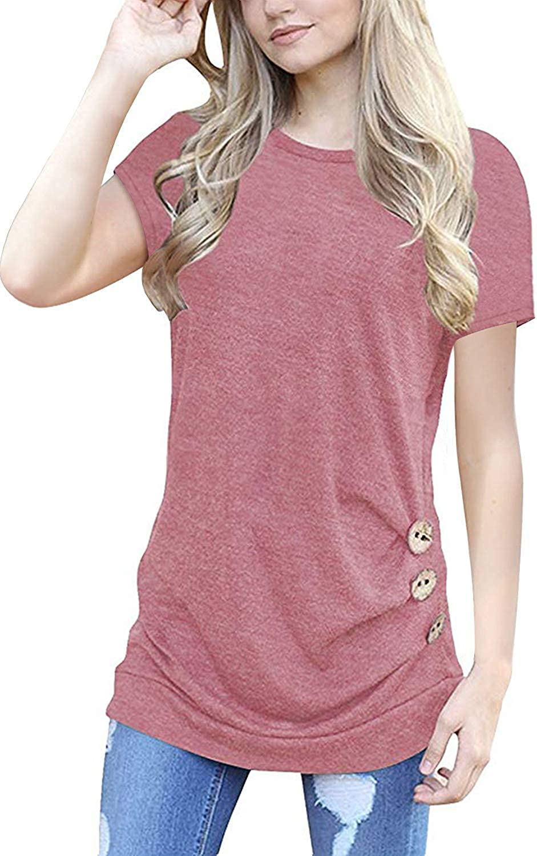 MOLERANI Women's Casual Short Sleeve Round Neck Loose Tunic T Shirt Blouse Tops