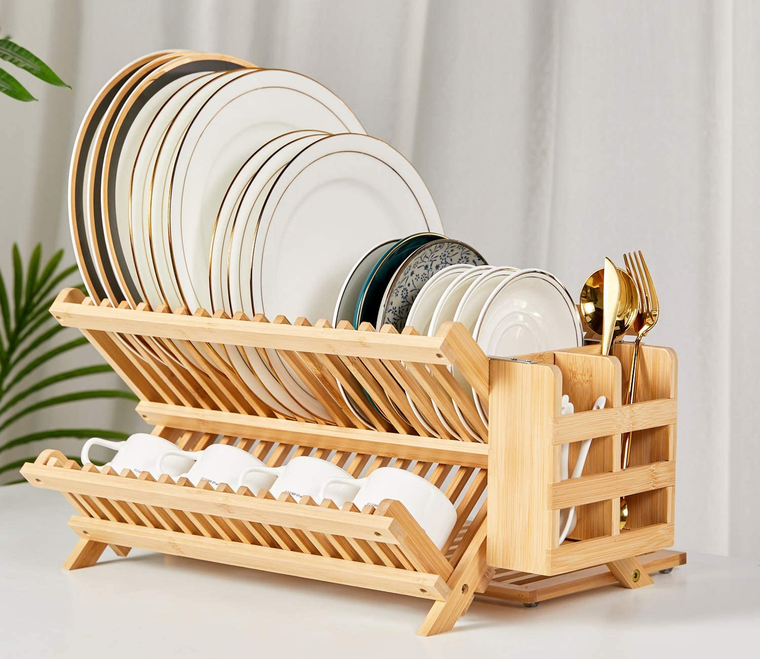 3-Tier Large Folding Drying Holder for Kitchen Counter NOVAYEAH Bamboo Dish Drying Rack with Utensil Holder Collapsible Wooden Dish Drainer Rack