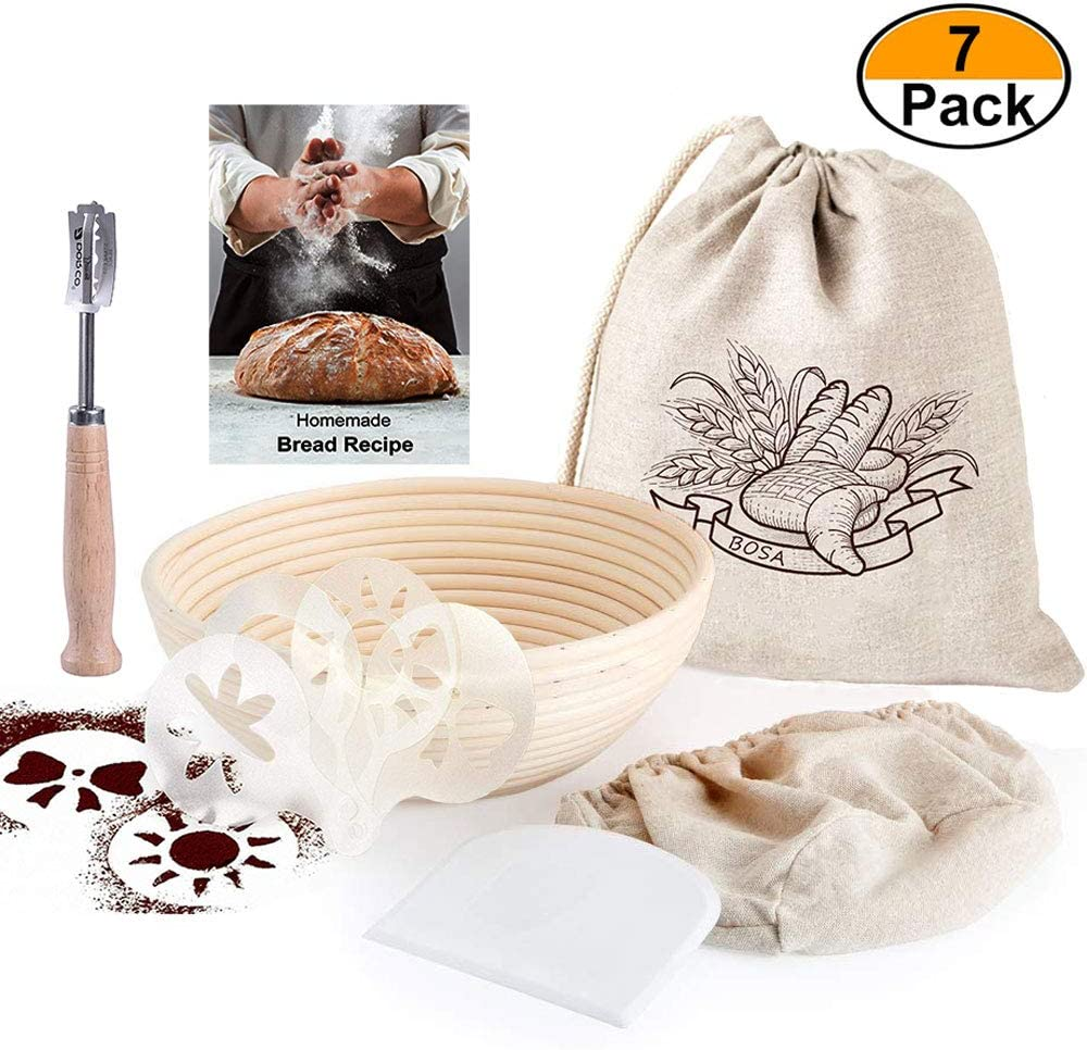 9 Inch Round Banneton Bread Proofing Basket for Rising Dough Professional Baking Tool 7 Pack Set - Brotform & Linen Liner & Bread Bag & Bread Lame & Scraper & Stencils & Recipe for Home Bakers