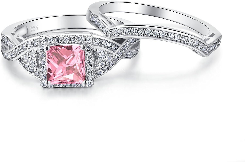 Corte Princesa Anillo hecha de acero inoxidable con diamantes simulados chispas