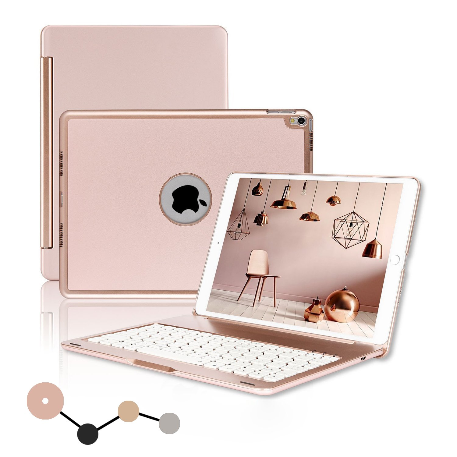 iPad Pro 10.5 Keyboard Case, ONHI Wireless Keyboard Case Aluminum shell Smart Folio Case with 7 Colors Back-lit, Auto Sleep/Wake, Silent Typing (A1701/A1709) (Rose gold) by ONHI